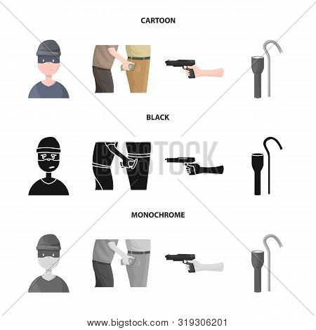 Vector Design Of Crime And Steal Sign. Set Of Crime And Villain Vector Icon For Stock.