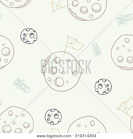 Vector Moon Conquest With Landing Rocket Seamless Pattern Background.