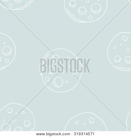 Vector Moon Conquest In Soft Pastel Seamless Pattern Background.