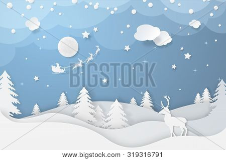 Vector Winter Night Scene In Paper Cut Style With Fir Trees, Stars, Deers And Santa's Sleigh Flying
