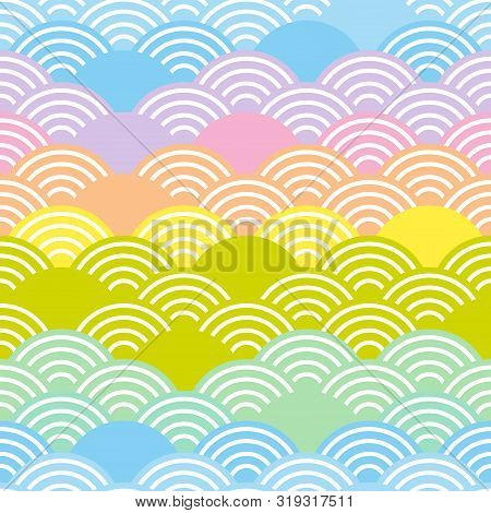 Seigaiha Or Seigainami Literally Means Blue Wave Of The Sea. Rainbow Seamless Pattern Abstract Scale