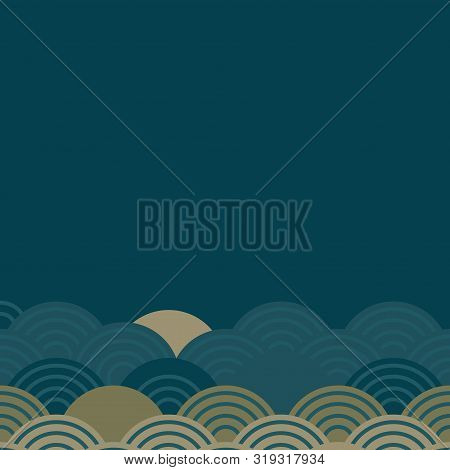 Seigaiha Literally Means Wave Of The Sea. Card Banner Template Pattern Abstract Scales Simple Nature