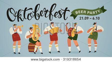 Oktoberfest World Biggest Beer Festival Opening Parade Musicians With Historical Costumes Playing Tr