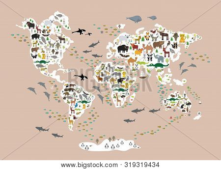 Cartoon Animal World Map For Children And Kids, Back To Schhool. Animals From All Over The World Whi
