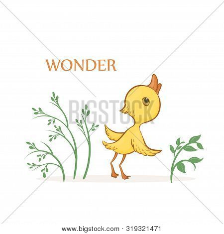 Vector Hand-drawn Illustration Of A Cute Wondering Yellow Duckling With Green Plants On A White Back