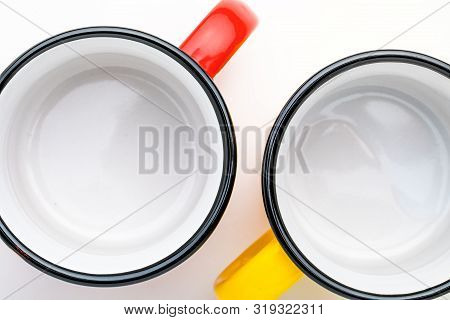 Top View Of Empty Enamel Coffee Mug, On White Background