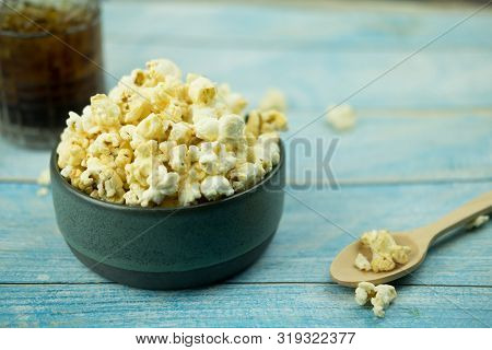 Bowl Of Popcorn. Concept Watching A Movie With Popcorn, Leisure Activities For Eating Popcorn