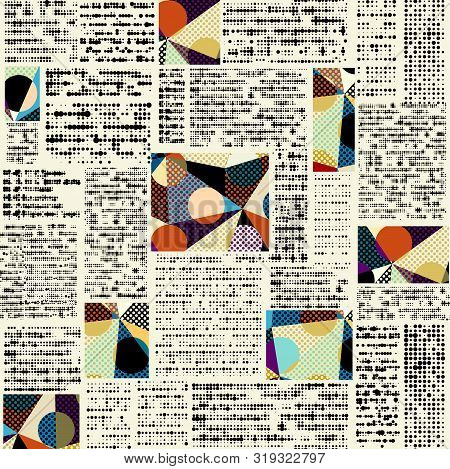 Imitation Of A Abstract Vintage Newspaper. Unreadable Text.