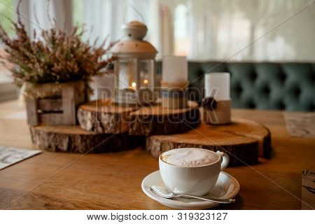 A Cup Of Coffee, Cappuccino And Autumn Decor On Table.hello Autumn. Autumn Decor, Fall Mood, Atmosph