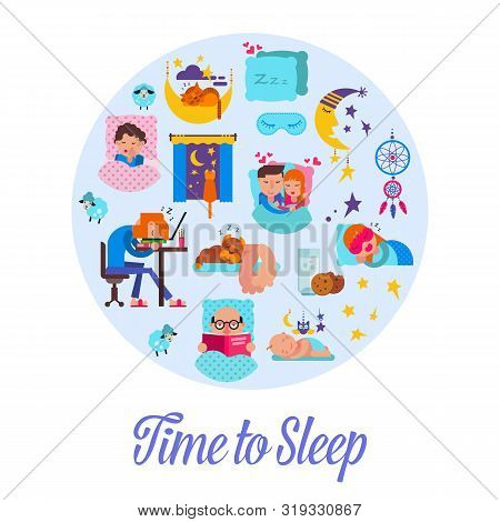 Sleep Time Flat Vector Illustration. Cartoon Set With Sleeping People, Alarm Clock, Pillows And Bedr