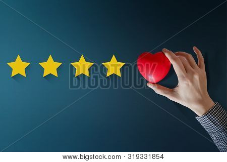Customer Experience Concept, Best Excellent Services Rating For Satisfaction Present By Hand Of Happ