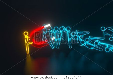 Persons Hand Pulling Human 3d Figures With Horseshoe Magnet. Business Employee Search Concept. 3d Re