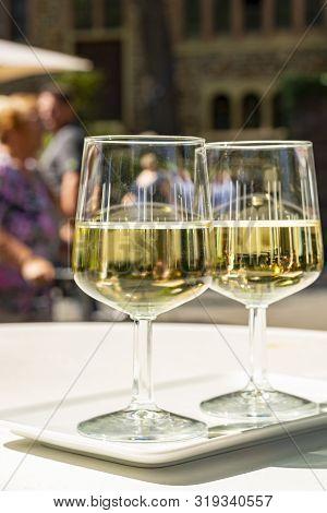 Street Wine Festival On Mosel River, Germany, During Grape Harvest