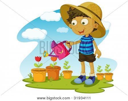 Illustration of kid gardening with water