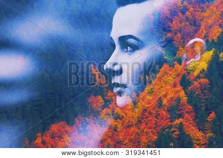 Double Multiply Exposure Abstract Dark Portrait Of Dreamy Cute Young Woman Face Head Silhouette In A