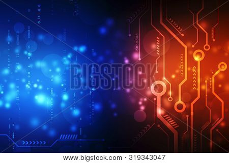 Abstract Futuristic Electronic Circuit Board Illustration, High Computer Technology Dark Blue Color