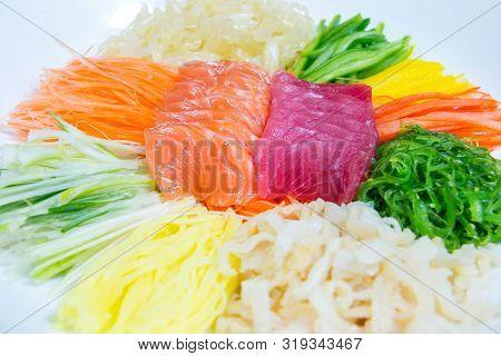 A Salmon Tuna  Set Japanese Seafood Background