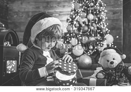 It Is Miracle. Santa Boy Little Child Celebrate Christmas At Home. Lovely Baby Enjoy Christmas. Fami