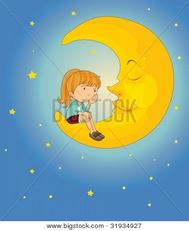 Illustration of girl on the moon