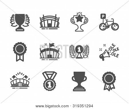 Set Of Sports Icons, Such As Laureate Award, Arena Stadium, Best Rank, Bicycle Parking, Award Cup, W