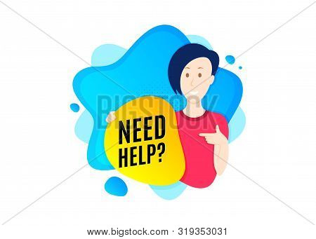 Need Help Symbol. Cut Out People Badge. Support Service Sign. Faq Information. Dynamic Shape Offer.