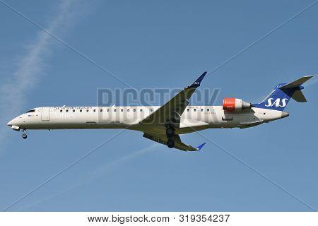 Vilnius, Lithuania - August 28: Sas Bombardier Crj-909er Airplane On August 28, 2019 In Vilnius Lith