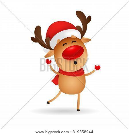 Happy Cartoon Deer Wishing Merry Christmas. Cute Reindeer In Santa Hat Dancing And Singing. Christma