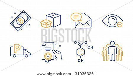 Chemical Formula, Myopia And Certificate Line Icons Set. Bitcoin, Packing Boxes And Truck Parking Si