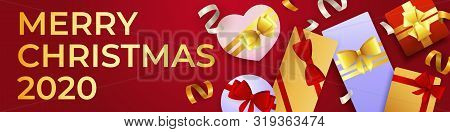 Merry Christmas Invitation Card With Abundance Of Gift Boxes. Holiday Banner Design On Red Backgroun
