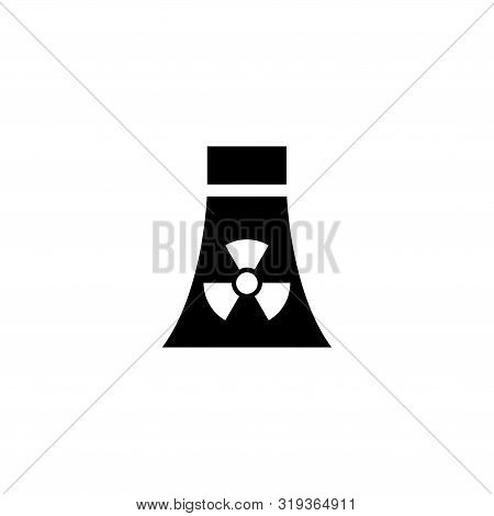 Atomic Nuclear Power Plant. Flat Vector Icon Illustration. Simple Black Symbol On White Background.