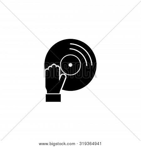 Audio Deejay, Music Dj, Vinyl. Flat Vector Icon Illustration. Simple Black Symbol On White Backgroun