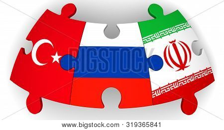 Cooperation Of Russia, Turkey And Iran. Puzzles With Flags Of Russia, Turkey And Iran Come Together.