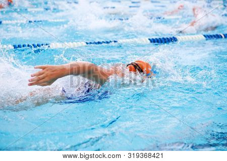 Freestyle swimmers racing in a pool