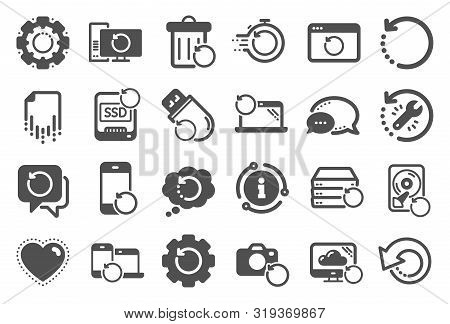 Recovery Icons. Backup, Restore Data And Recover Document. Laptop Renew, Repair And Phone Recovery I