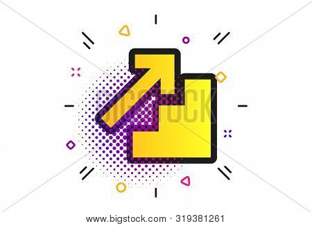 Upstairs Icon. Halftone Dots Pattern. Up Arrow Sign. Classic Flat Upstairs Icon. Vector