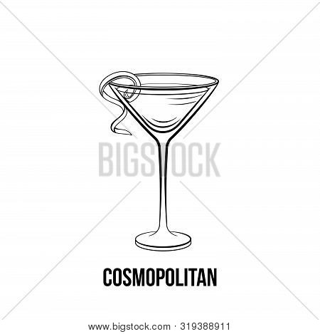 Cosmopolitan Vector Hand Drawn Illustration. Monochrome Alcoholic Cocktail Decorated With Citrus Spi