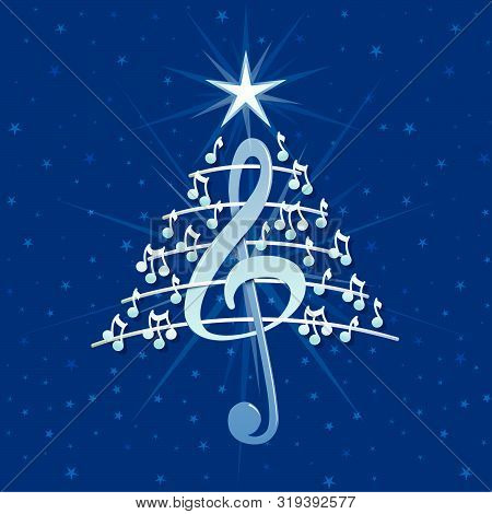 Christmas Tree Made Of White Musical Notes, Treble Clef And Pentagram On Blue Background With Stars
