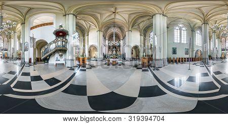 Lviv, Ukraine - August 2019: Full Spherical Seamless Hdri Panorama 360 Degrees Inside Interior Of Go