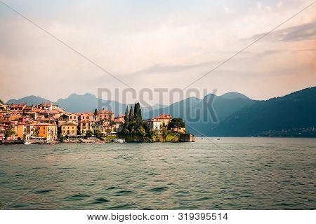 Beautiful Varenna Old Town And Alps At Como Lake (italian Lago Di Como), Italy. Scenic Sunset View O