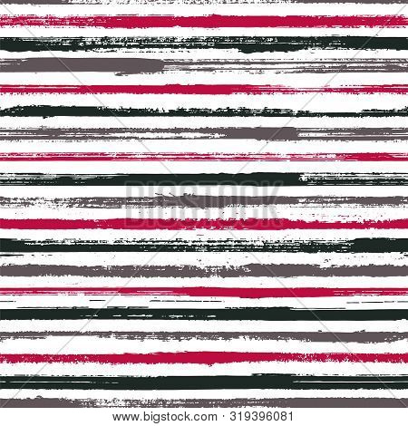 Hand Painted Stripes Clothes Seamless Vector Pattern. Ink Paint Lines Textured Background. Grunge Br