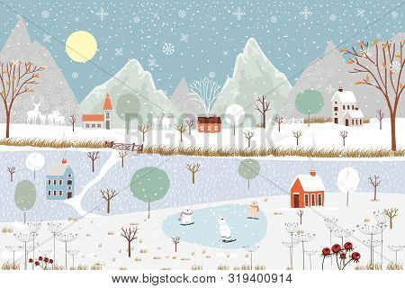 Panoramic Of Winter Landscape,vector Of Horizontal Banner Of Winter Wonderland At Countryside With S