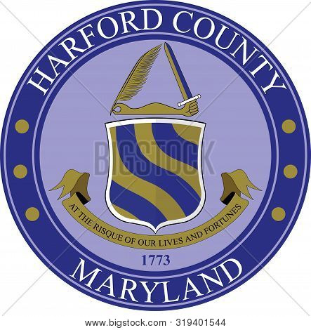 Coat Of Arms Of Harford County Is A County In The U.s. State Of Maryland. Vector Illustration