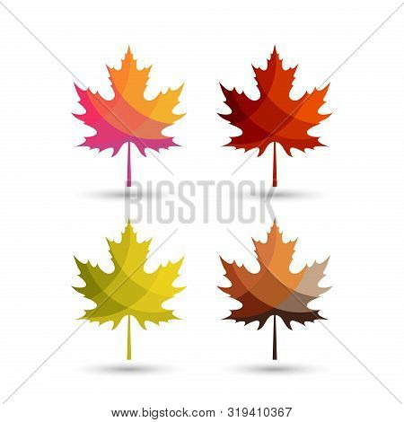 Autumn Leaves Vector Logo With Colorful Styles,maple Leaf With Autumn Color Schemes. Autumn Logo, Au