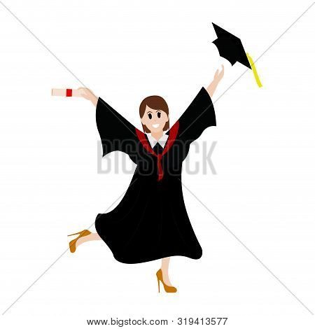 Young Person With Toga Celebrating The Graduation Day, Vector Illustration Design
