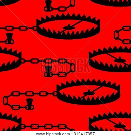 Bear Trap Pattern Seamless. Metal Animal Mantrap Background. Vector Illustration