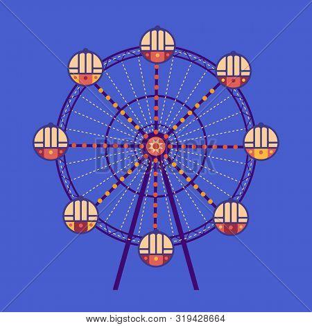 Amusement Park Ferris Wheel Flat Color Vector Icon Isolated. City Park Carousel Funfair Garden Leisu