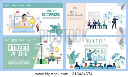 Online Consultant, Office And Street Working, Business Chatbot Flat Vector Web Banners, Landing Page