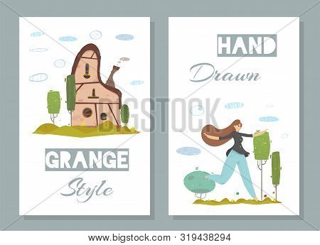 Old-fashioned Traditional Stone House With Green Garden Around. Happy Smiling Woman Running On Field