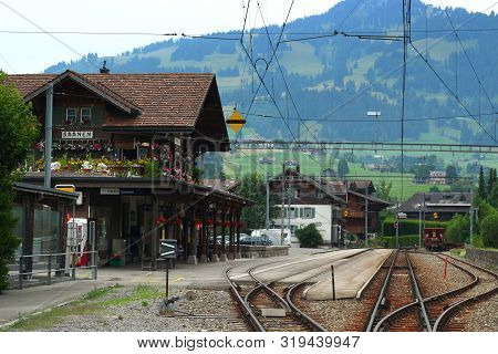 Saanen, Switzerland - July 25, 2019: The Train Station In Saanen Is A Station Managed By Railway Com