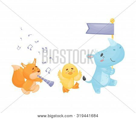 Cartoon Squirrel, Duckling And Rhino At The Parade. Vector Illustration On A White Background.